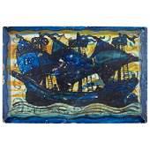 JOHN PEARSON (1859-1930) ARTS & CRAFTS PAINTED CERAMIC