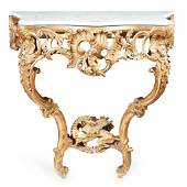 FRENCH MARBLE TOPPED GILTWOOD CONSOLE TABLE 19TH