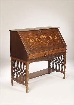 An Arts and Crafts oak bureau, in the style of Ge