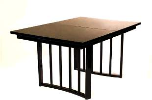 An American lacquered pull-out dining room table,