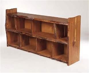 Tim Stead (1952-2000) An elmwood open bookcase, w