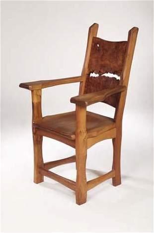 Tim Stead (1952-2000) An open elmwood armchair, w
