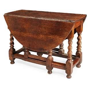 GEORGE I OAK DROP-LEAF TABLE EARLY 18TH CENTURY