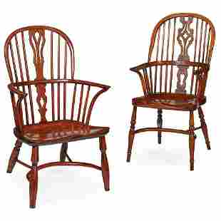TWO WINDSOR ARMCHAIRS 19TH CENTURY