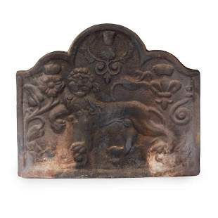 CAST IRON FIRE BACK, GRATE AND ANDIRONS MODERN