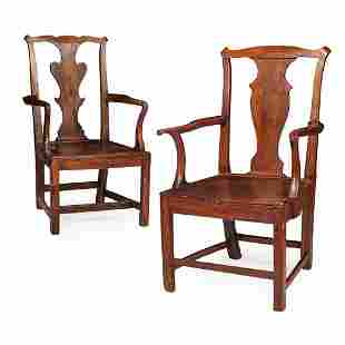 TWO GEORGIAN PROVINCIAL OAK AND ELM OPEN ARMCHAIRS 18TH