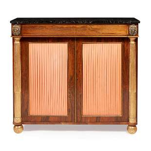 Y REGENCY ROSEWOOD, GILT, AND BRASS INLAID SIDE CABINET