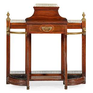 VICTORIAN OAK AND BRASS HALL STAND, BY JAMES SHOOLBRED
