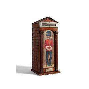 OAK POST BOX IN THE FORM OF A SENTRY BOX LATE 19TH