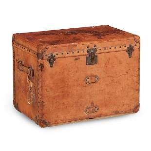 LOUIS VUITTON LEATHER TRUNK EARLY 20TH CENTURY