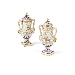 PAIR OF SÈVRES STYLE URNS AND COVERS LATE 19TH/ EARLY