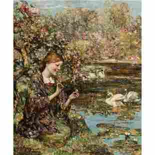 EDWARD ATKINSON HORNEL (SCOTTISH 1864-1933) SWAN LAKE