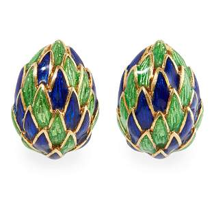 A pair of French enamelled ear clips