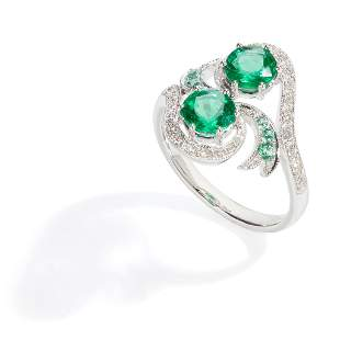Am emerald and diamond twist ring