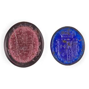 Two unset glass intaglio seals relating to Mary Queen