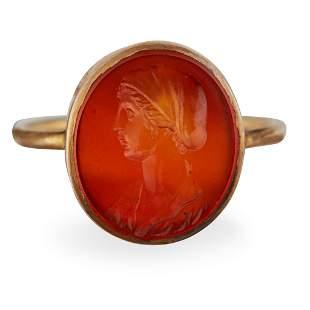 A silver gilt mounted carnelian intaglio ring