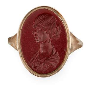 A gold mounted carnelian intaglio ring