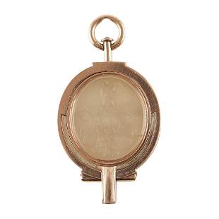 A scarce late George III rose gold mounted swivel seal