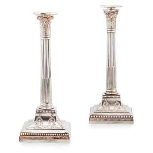 A pair of Edwardian 'Adam style' candlesticks