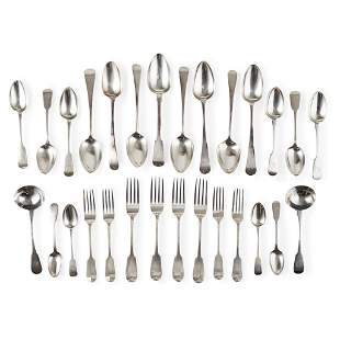A composite group of fiddle pattern flatware