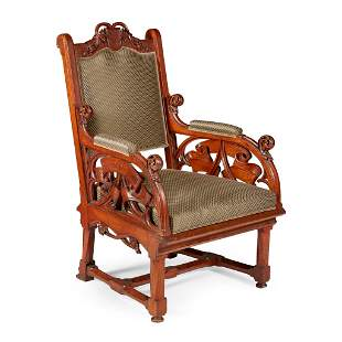 ATTRIBUTED TO EDWIN OPPLER (1831-1880) GERMAN ARMCHAIR,