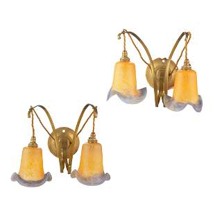 ENGLISH SCHOOL PAIR OF ARTS & CRAFTS BRASS WALL LIGHTS,