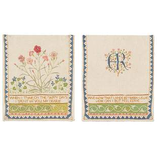 ENGLISH SCHOOL PAIR OF ARTS & CRAFTS EMBROIDERED