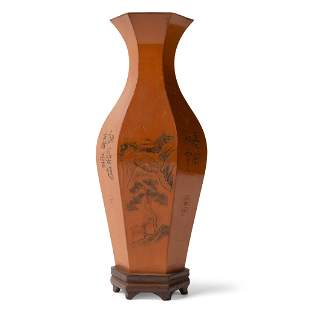 HEXAGONAL VASE WITH BAMBOO APPLIQUE LATE QING