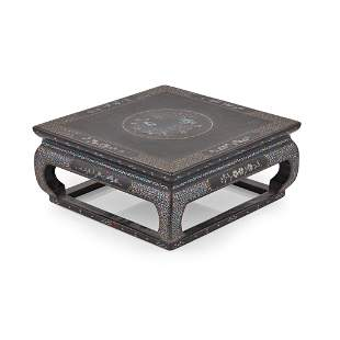 MOTHER-OF-PEARL INLAID BLACK LACQUER SQUARE WOODEN