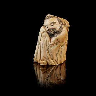 Y IVORY CARVING OF A NAPPING SCHOLAR MING TO QING