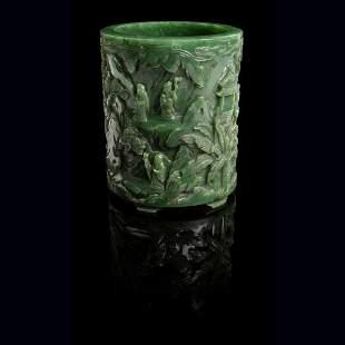 SPINACH-GREEN JADE 'SCHOLARS' BRUSH POT QING DYNASTY,
