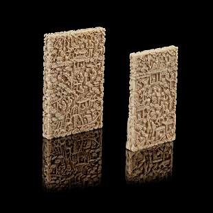 Y GROUP OF TWO CANTON IVORY CARD CASES QING DYNASTY,