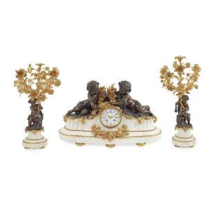 FRENCH GILT AND PATINATED BRONZE AND MARBLE MANTLE