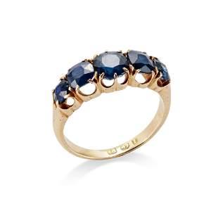 A late 19th century sapphire five-stone ring, circa