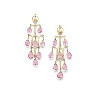 A pair of pink tourmaline pendent earrings