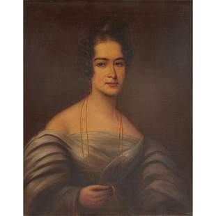 19TH CENTURY SCOTTISH SCHOOL PORTRAIT OF A LADY IN GREY
