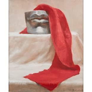 § HARRY HOLLAND (SCOTTISH 1941-) THE RED CLOTH, C.