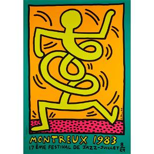 KEITH HARING (AMERICAN 1958-1990) MONTREUX JAZZ POSTER