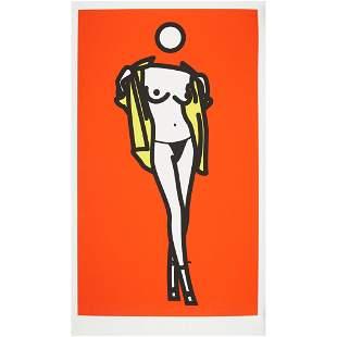 § JULIAN OPIE (BRITISH 1958-) WOMAN TAKING OFF MAN'S
