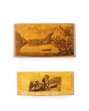A FINE MAUCHLINE WARE SNUFF BOX CIRCA 1890