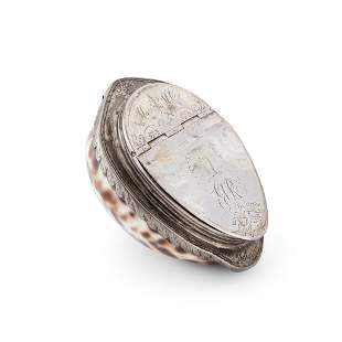 A SCOTTISH SILVER MOUNTED COWRIE SHELL SNUFF BOX LATE
