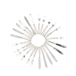 AN EDWARDIAN PART SET OF FISH KNIVES AND FORKS HAMILTON