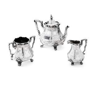 A VICTORIAN THREE PIECE TEA SET WILLIAM MARSHALL,