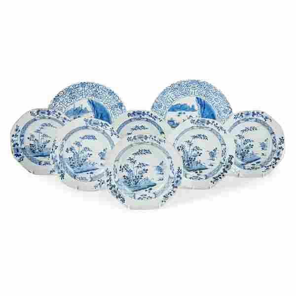 GROUP OF EIGHT BLUE AND WHITE PLATES QING DYNASTY, 18TH