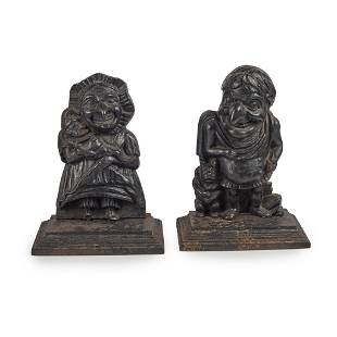 PUNCH AND JUDY CAST IRON DOOR STOPS LATE 19TH/EARLY