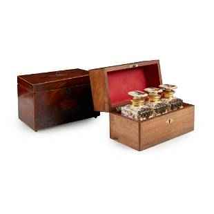 Y A VICTORIAN ROSEWOOD AND INLAID TEA CADDY MID/LATE