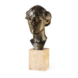 BRITISH SCHOOL PORTRAIT BUST OF A YOUNG WOMAN, EARLY