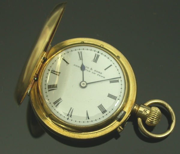 6: A late Victorian 18ct gold hunter cased fob watch,