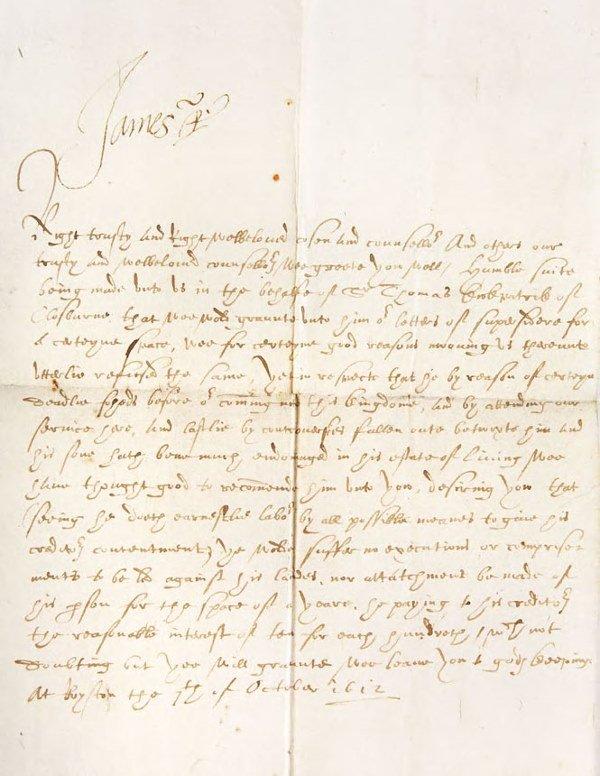 1418: King James I and VI of Scotland Letter superscrib