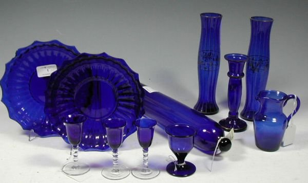 1: A small collection of mainly Georgian blue glass, co